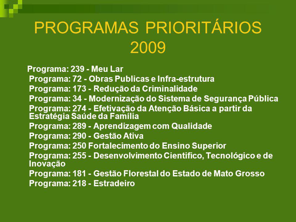 PROGRAMAS PRIORITÁRIOS 2009