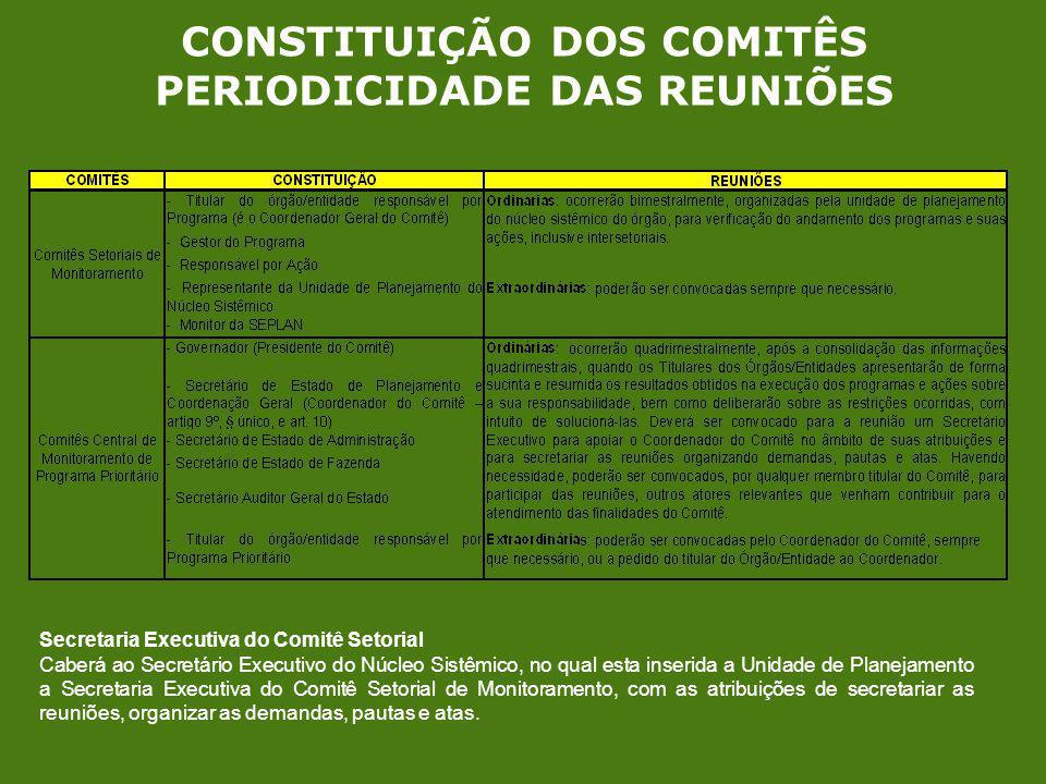 CONSTITUIÇÃO DOS COMITÊS PERIODICIDADE DAS REUNIÕES