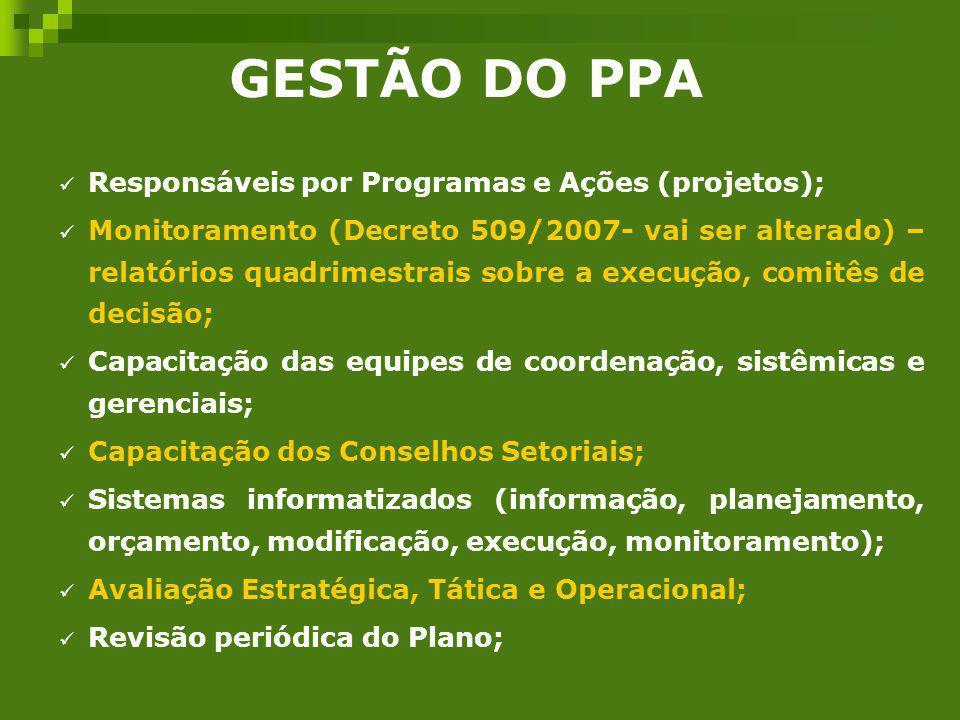 GESTÃO DO PPA Responsáveis por Programas e Ações (projetos);