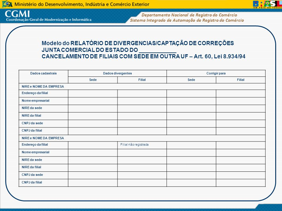Modelo do RELATÓRIO DE DIVERGENCIAS/CAPTAÇÃO DE CORREÇÕES
