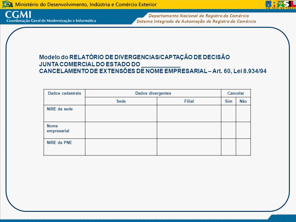 Modelo do RELATÓRIO DE DIVERGENCIAS/CAPTAÇÃO DE DECISÃO