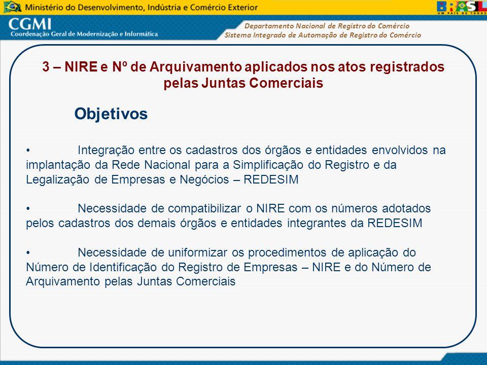 3 – NIRE e Nº de Arquivamento aplicados nos atos registrados pelas Juntas Comerciais