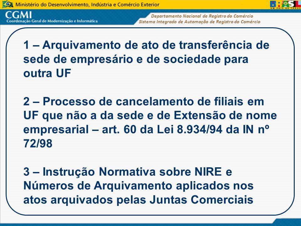 1 – Arquivamento de ato de transferência de sede de empresário e de sociedade para outra UF