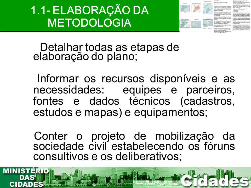 1.1- ELABORAÇÃO DA METODOLOGIA