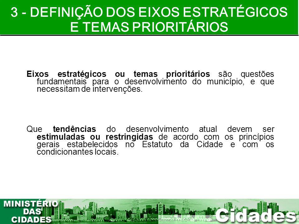 3 - DEFINIÇÃO DOS EIXOS ESTRATÉGICOS E TEMAS PRIORITÁRIOS