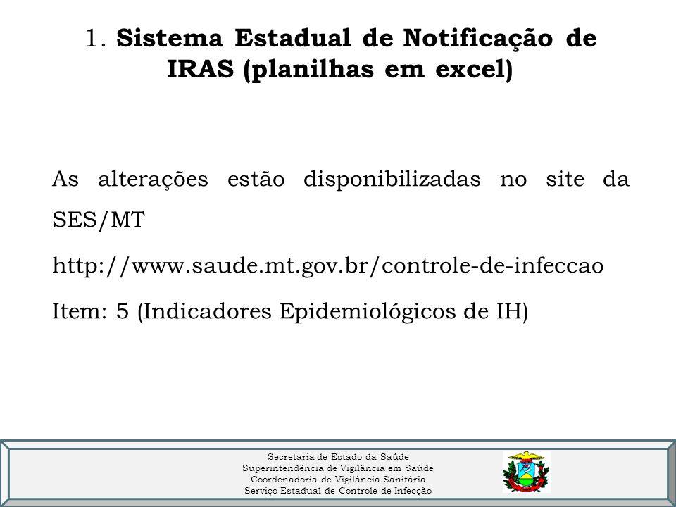 1. Sistema Estadual de Notificação de IRAS (planilhas em excel)