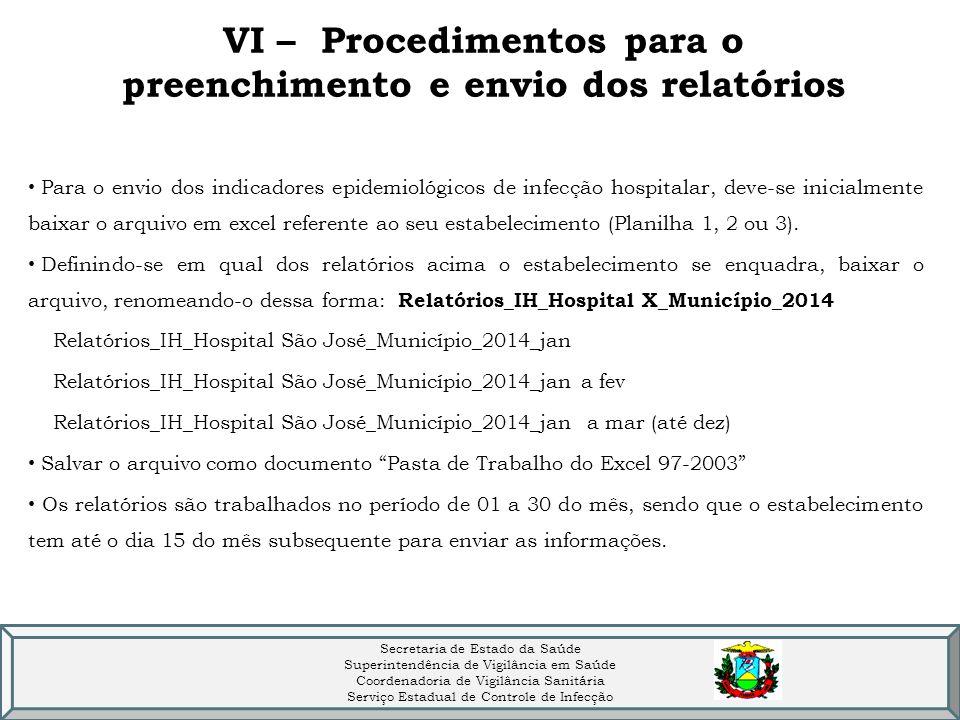 VI – Procedimentos para o preenchimento e envio dos relatórios