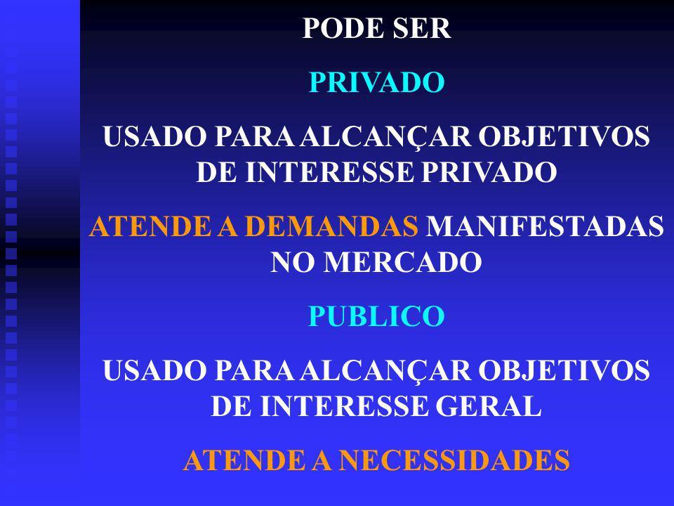 USADO PARA ALCANÇAR OBJETIVOS DE INTERESSE PRIVADO