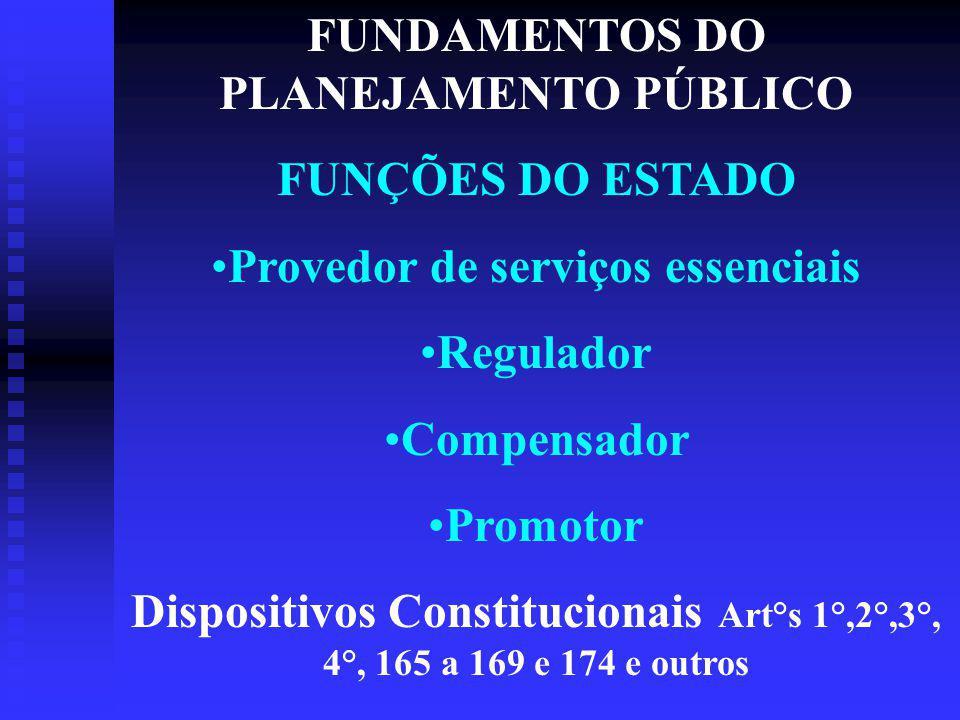 FUNDAMENTOS DO PLANEJAMENTO PÚBLICO Provedor de serviços essenciais