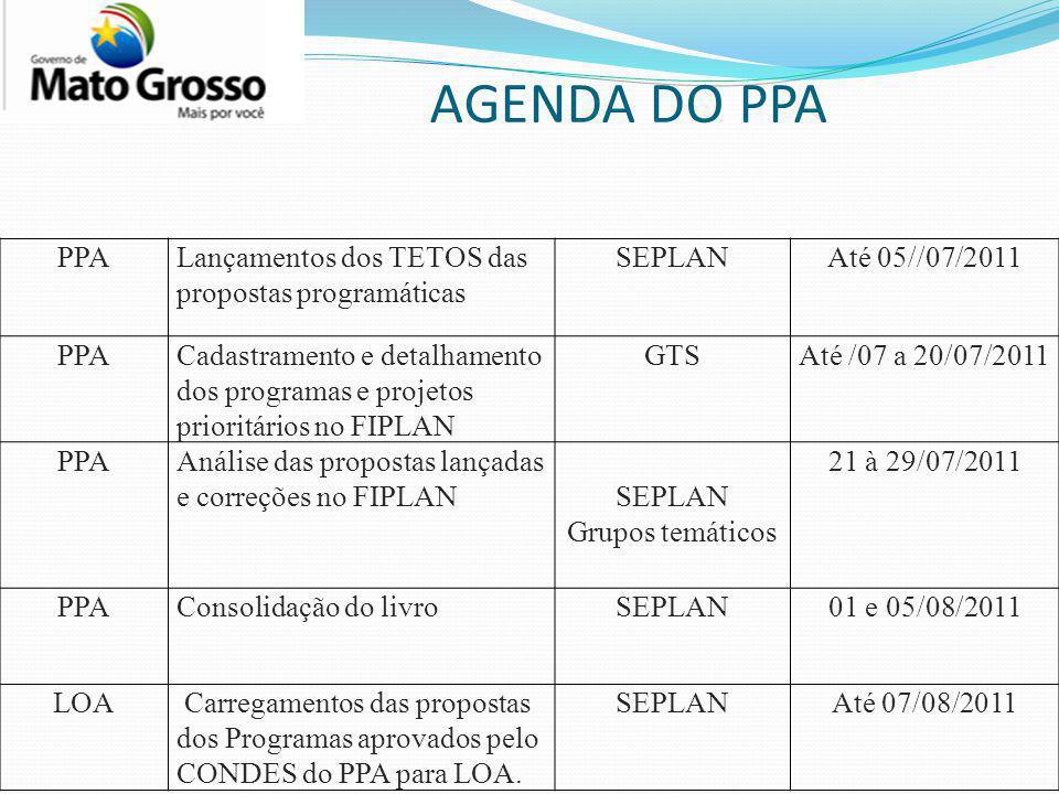 AGENDA DO PPA PPA Lançamentos dos TETOS das propostas programáticas