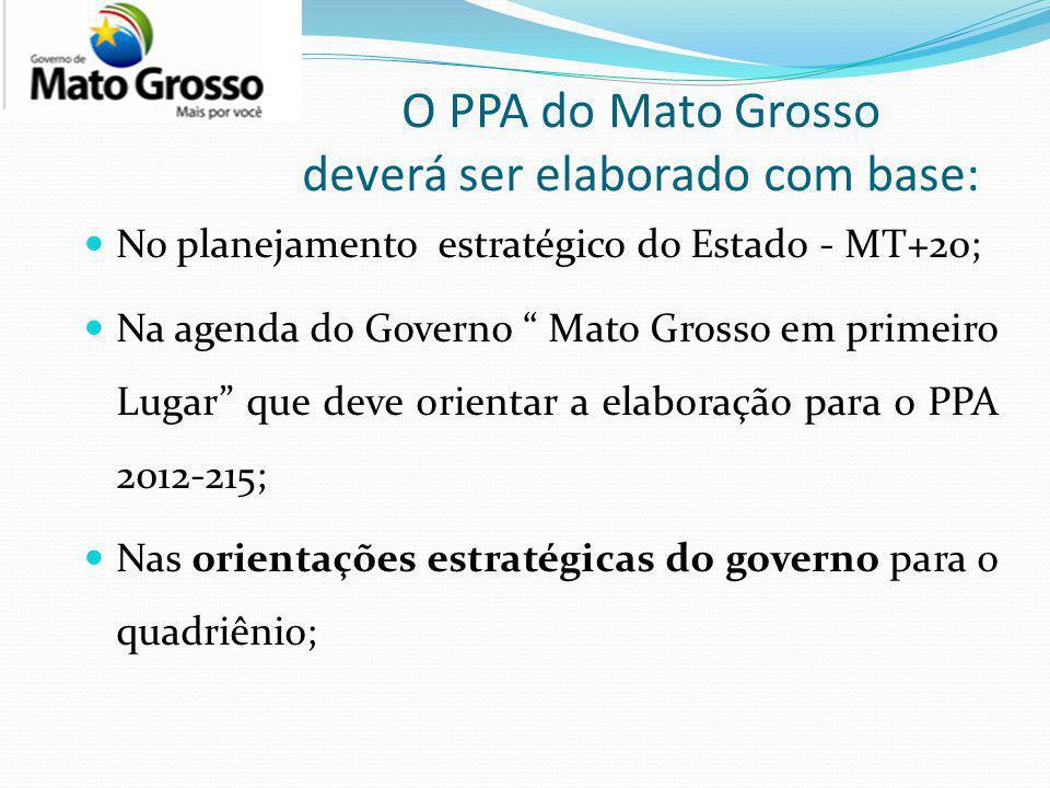 O PPA do Mato Grosso deverá ser elaborado com base: