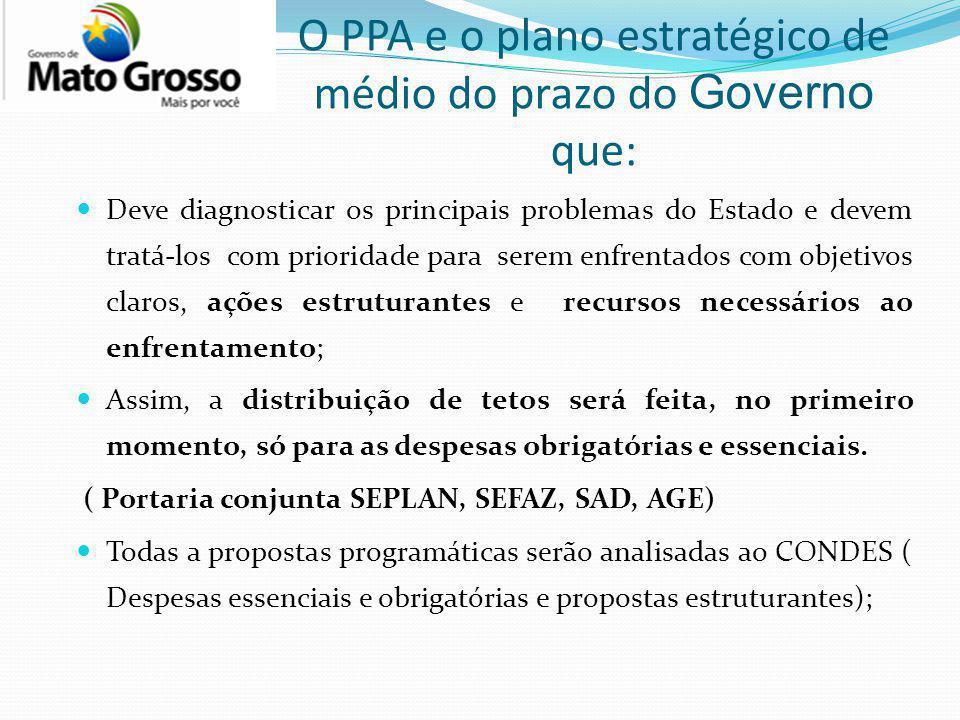O PPA e o plano estratégico de médio do prazo do Governo que: