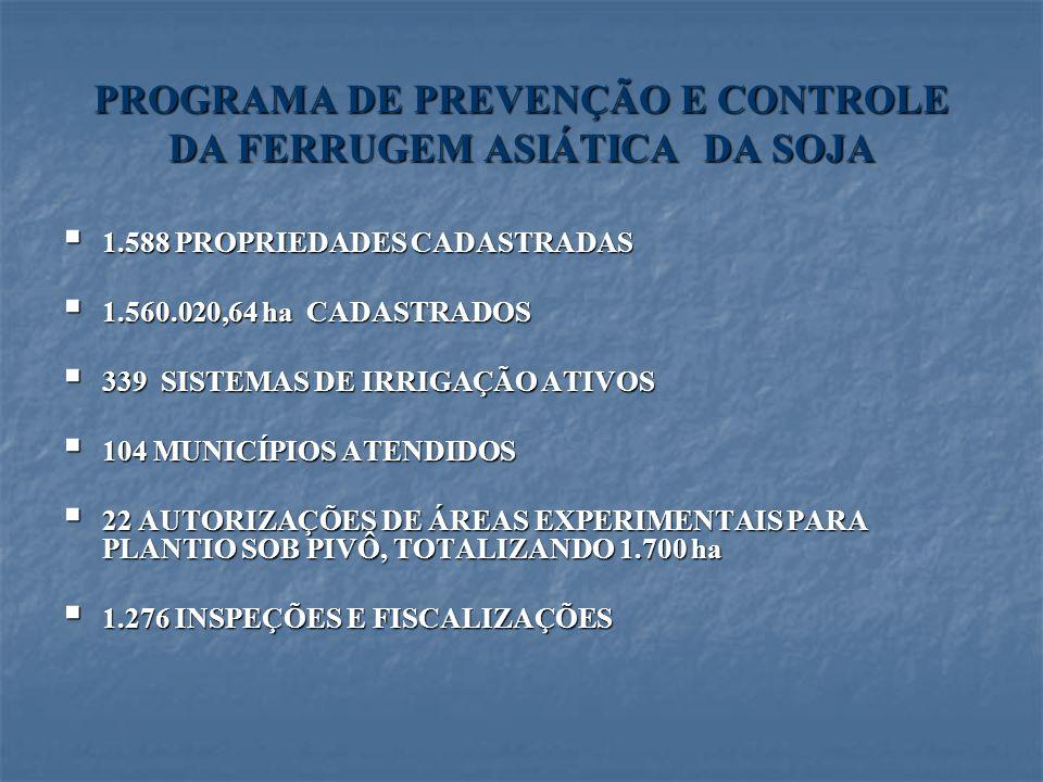 PROGRAMA DE PREVENÇÃO E CONTROLE DA FERRUGEM ASIÁTICA DA SOJA