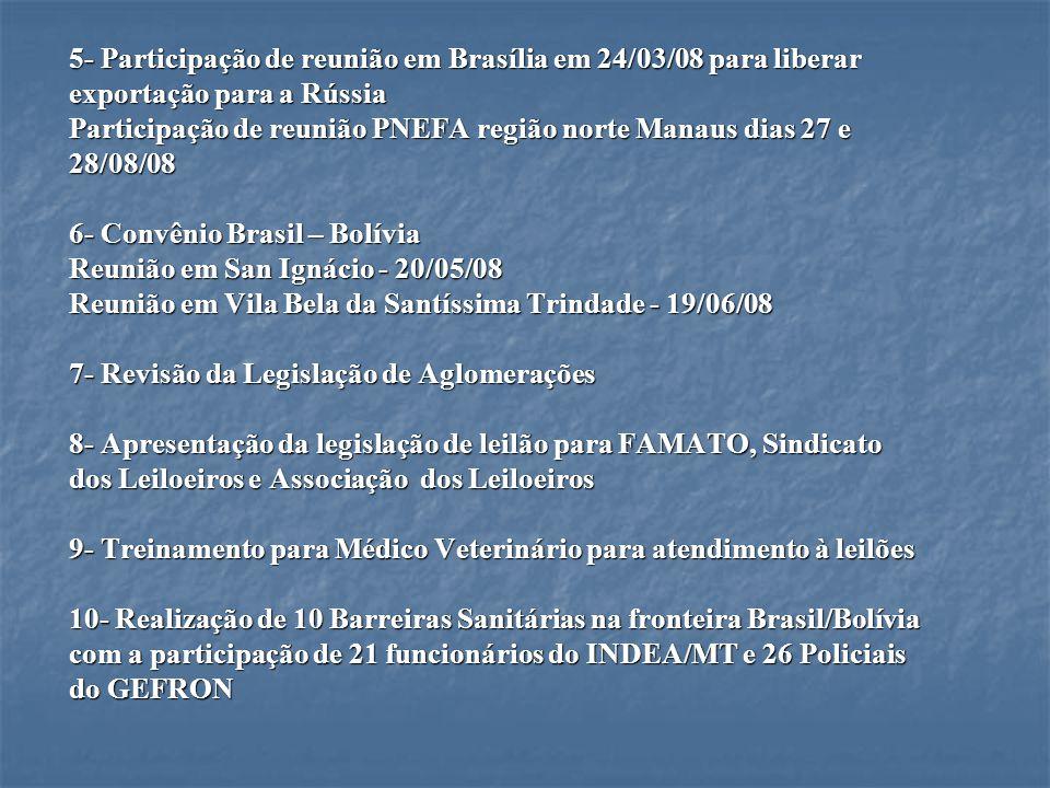 5- Participação de reunião em Brasília em 24/03/08 para liberar