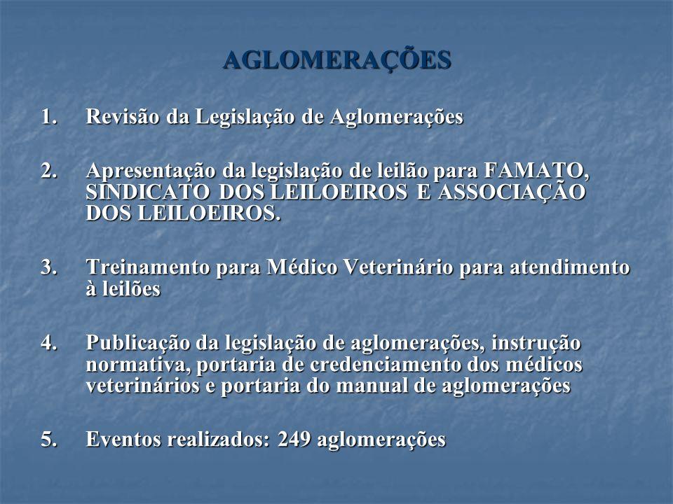 AGLOMERAÇÕES Revisão da Legislação de Aglomerações