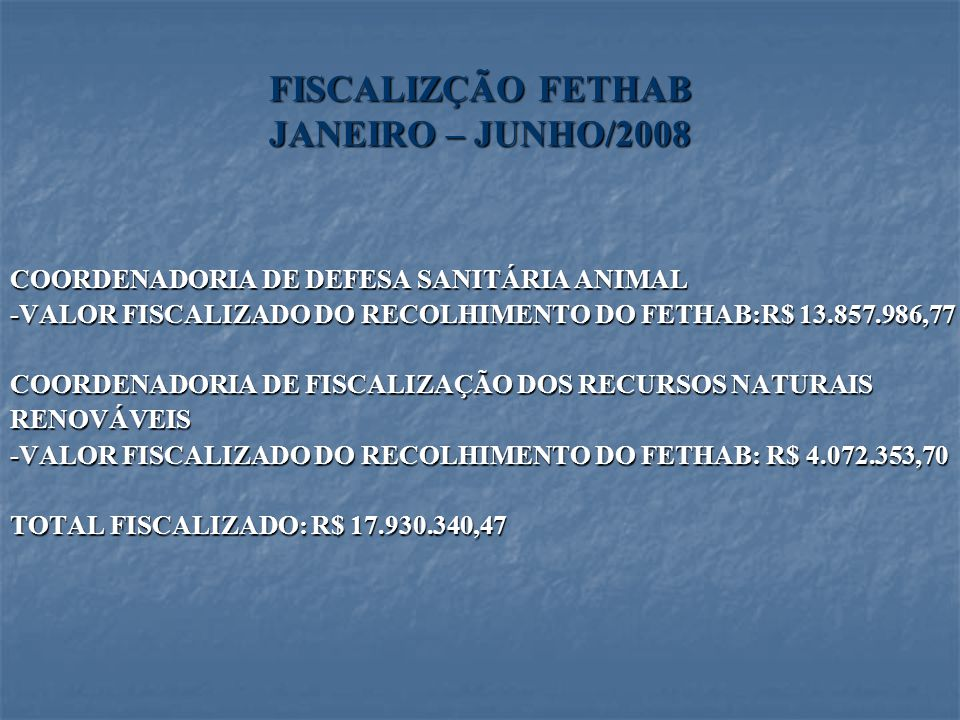 FISCALIZÇÃO FETHAB JANEIRO – JUNHO/2008