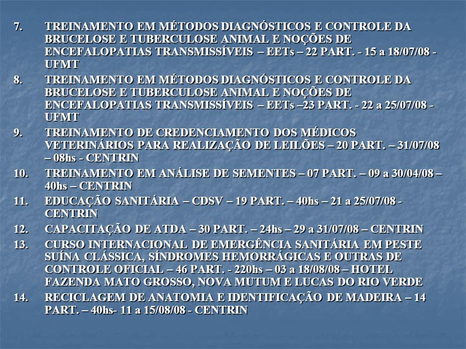 TREINAMENTO EM MÉTODOS DIAGNÓSTICOS E CONTROLE DA BRUCELOSE E TUBERCULOSE ANIMAL E NOÇÕES DE ENCEFALOPATIAS TRANSMISSÍVEIS – EETs – 22 PART. - 15 a 18/07/08 - UFMT