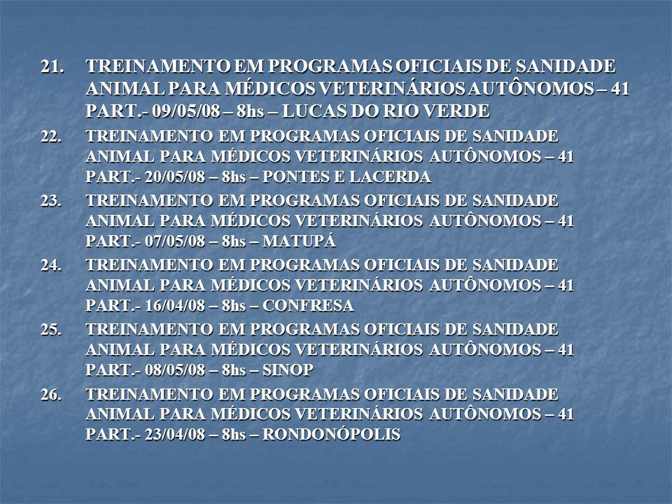 TREINAMENTO EM PROGRAMAS OFICIAIS DE SANIDADE ANIMAL PARA MÉDICOS VETERINÁRIOS AUTÔNOMOS – 41 PART.- 09/05/08 – 8hs – LUCAS DO RIO VERDE