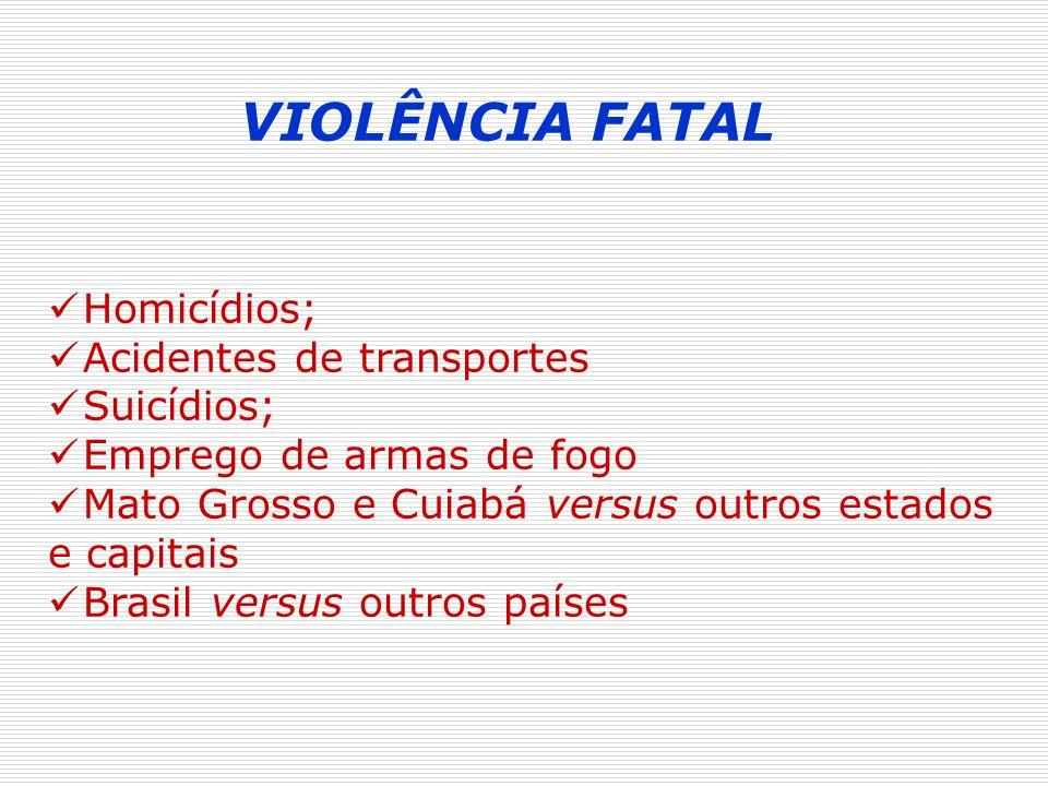 VIOLÊNCIA FATAL Homicídios; Acidentes de transportes Suicídios;