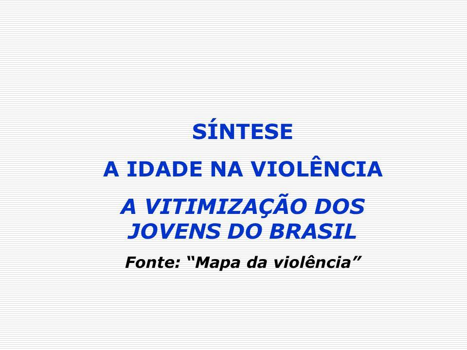 A VITIMIZAÇÃO DOS JOVENS DO BRASIL Fonte: Mapa da violência