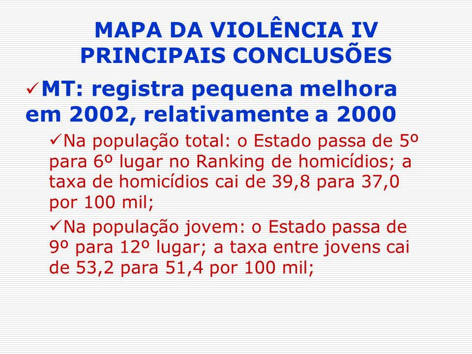 MAPA DA VIOLÊNCIA IV PRINCIPAIS CONCLUSÕES