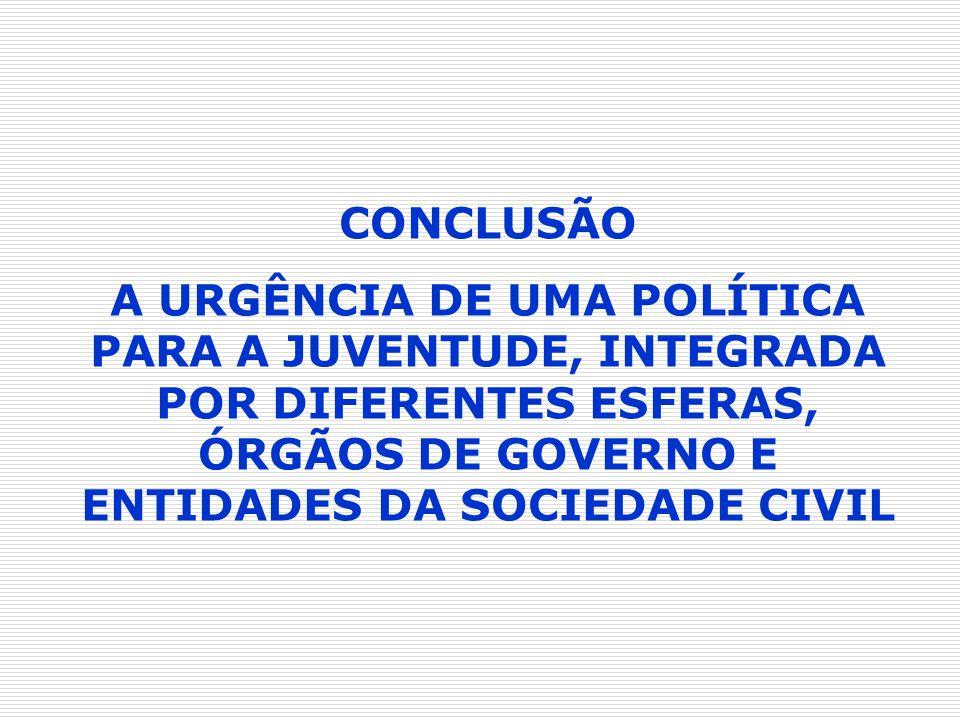 CONCLUSÃO A URGÊNCIA DE UMA POLÍTICA PARA A JUVENTUDE, INTEGRADA POR DIFERENTES ESFERAS, ÓRGÃOS DE GOVERNO E ENTIDADES DA SOCIEDADE CIVIL.