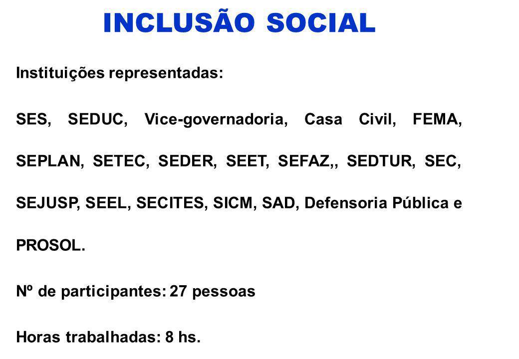 INCLUSÃO SOCIAL Instituições representadas: