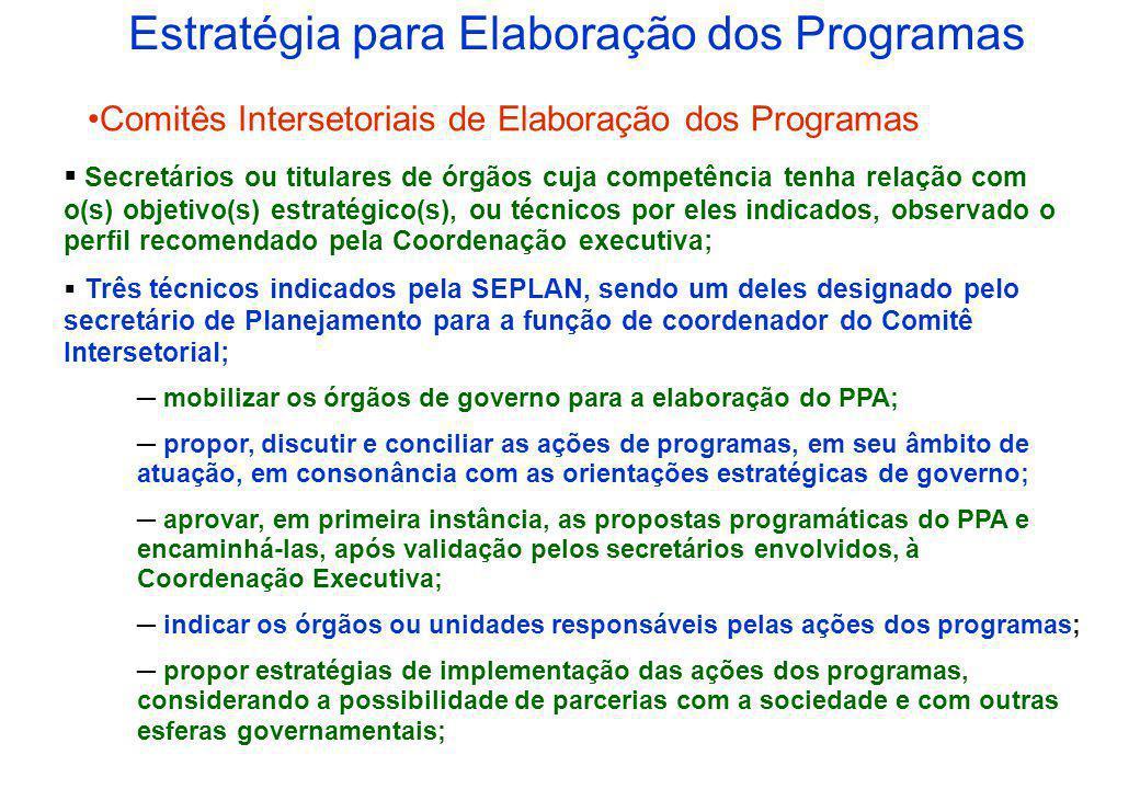 Estratégia para Elaboração dos Programas