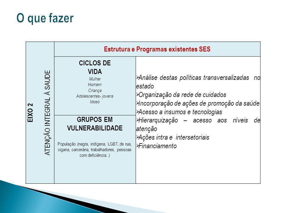 Estrutura e Programas existentes SES GRUPOS EM VULNERABILIDADE