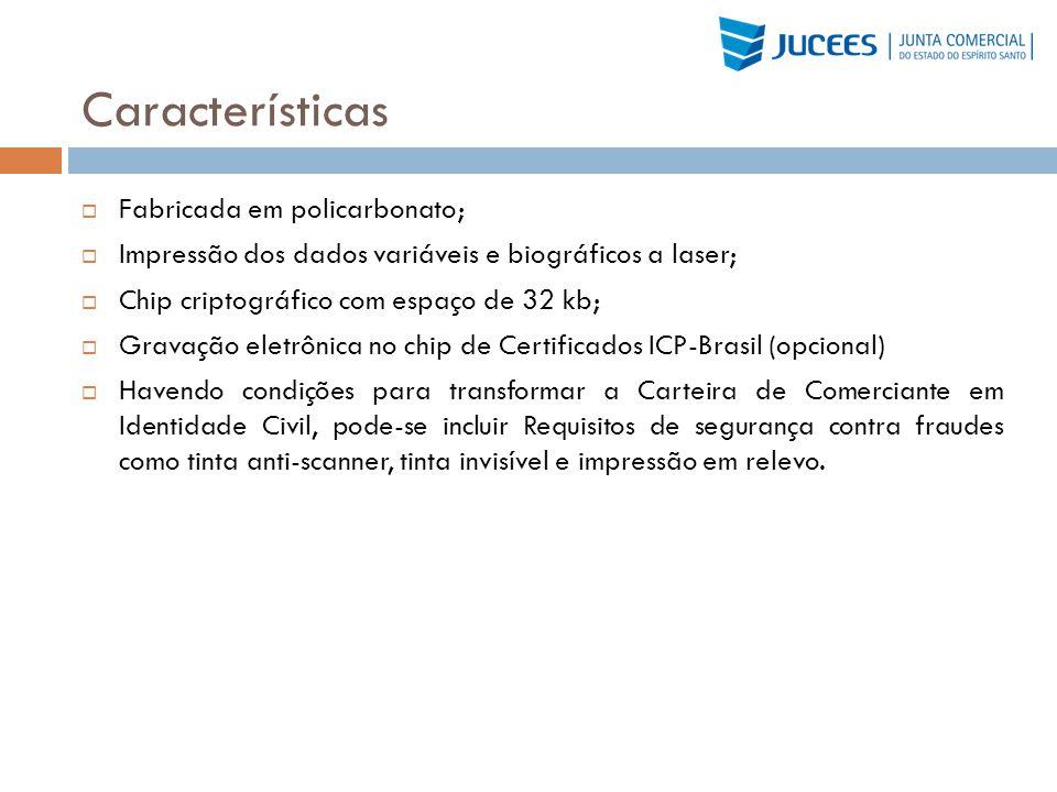 Características Fabricada em policarbonato;