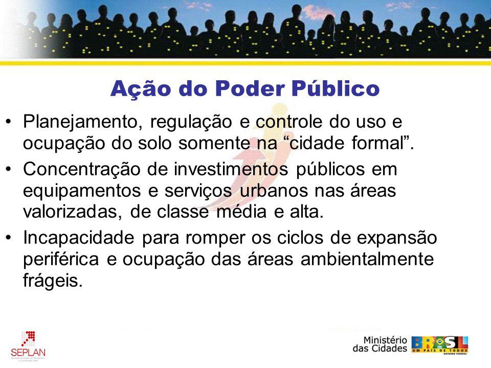 Ação do Poder Público Planejamento, regulação e controle do uso e ocupação do solo somente na cidade formal .