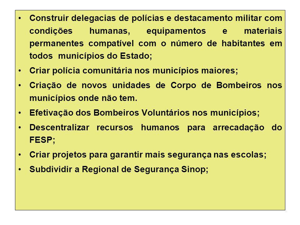 Construir delegacias de polícias e destacamento militar com condições humanas, equipamentos e materiais permanentes compatível com o número de habitantes em todos municípios do Estado;
