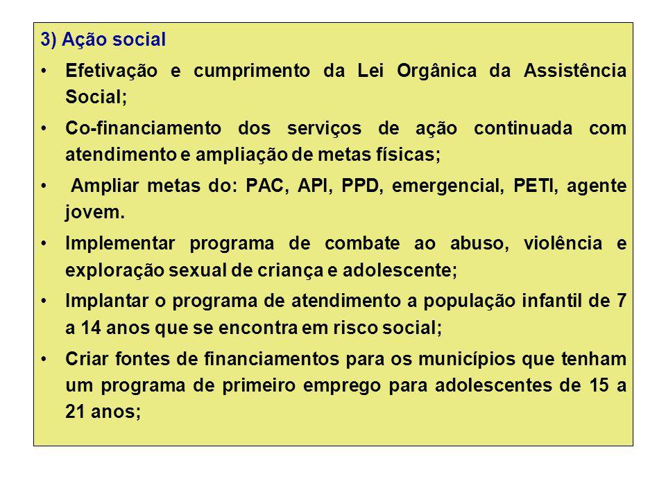 3) Ação social Efetivação e cumprimento da Lei Orgânica da Assistência Social;