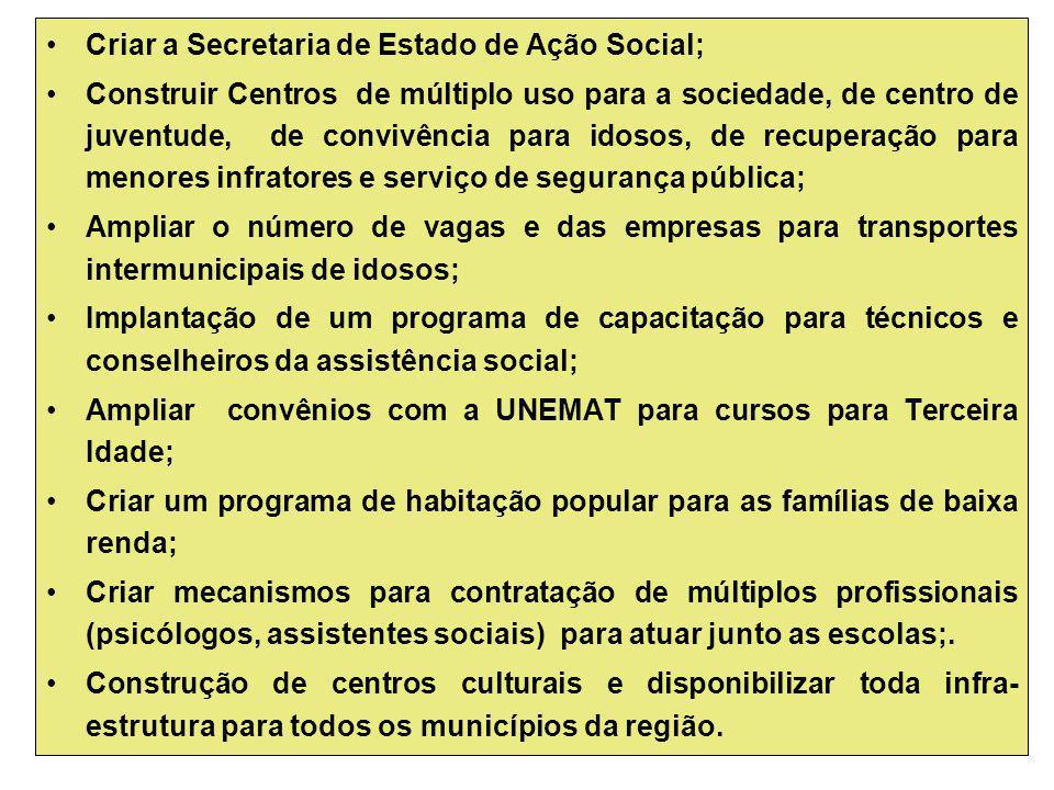 Criar a Secretaria de Estado de Ação Social;
