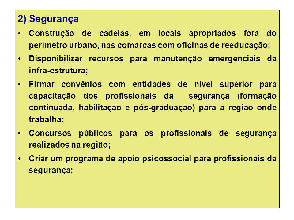 2) Segurança Construção de cadeias, em locais apropriados fora do perímetro urbano, nas comarcas com oficinas de reeducação;