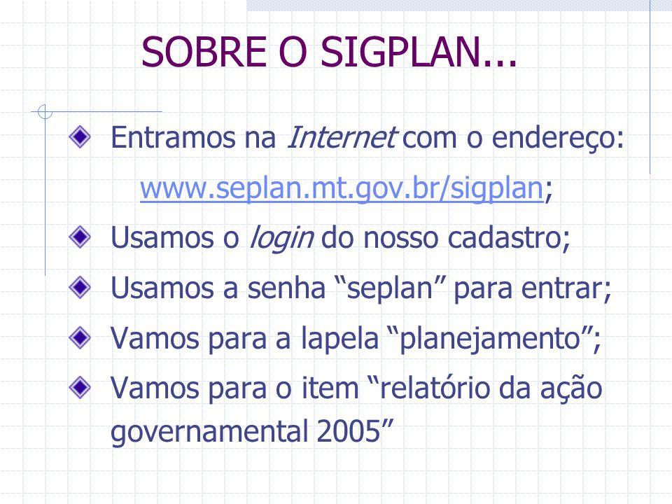 SOBRE O SIGPLAN... Entramos na Internet com o endereço:
