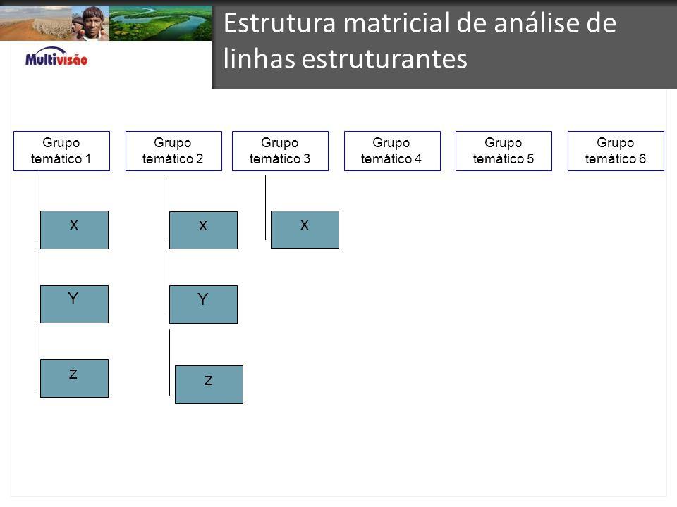 Estrutura matricial de análise de linhas estruturantes