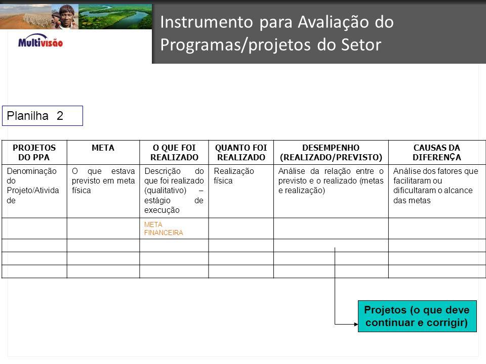 Instrumento para Avaliação do Programas/projetos do Setor