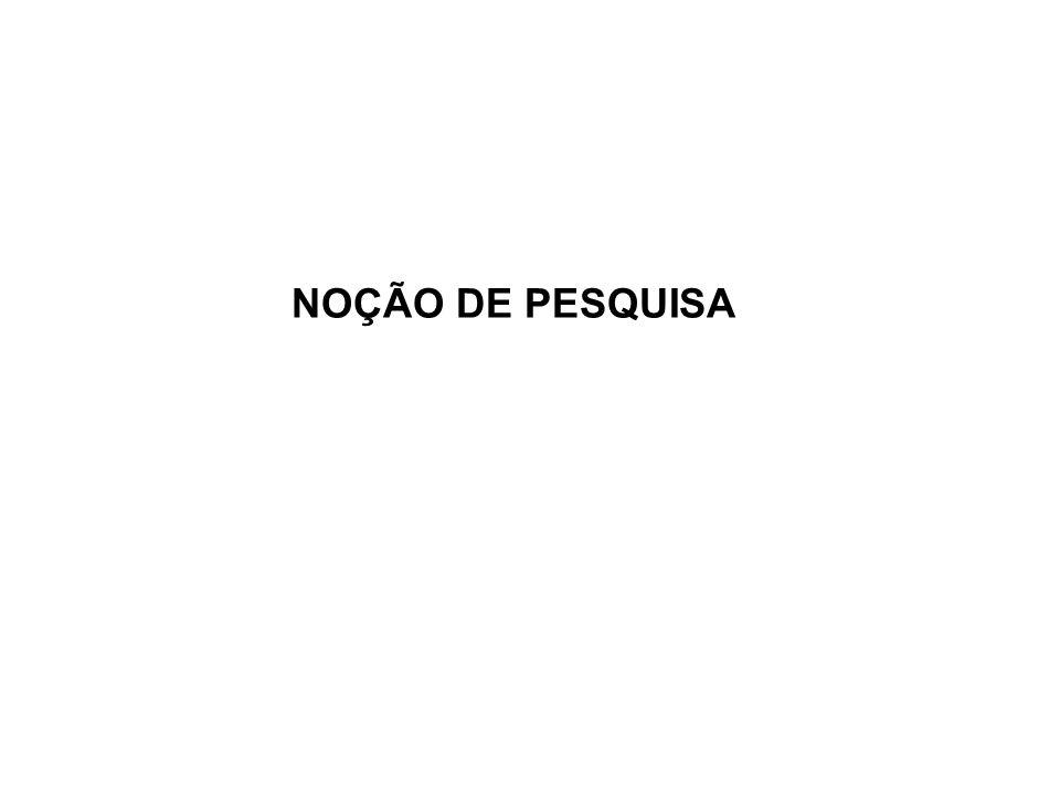 NOÇÃO DE PESQUISA