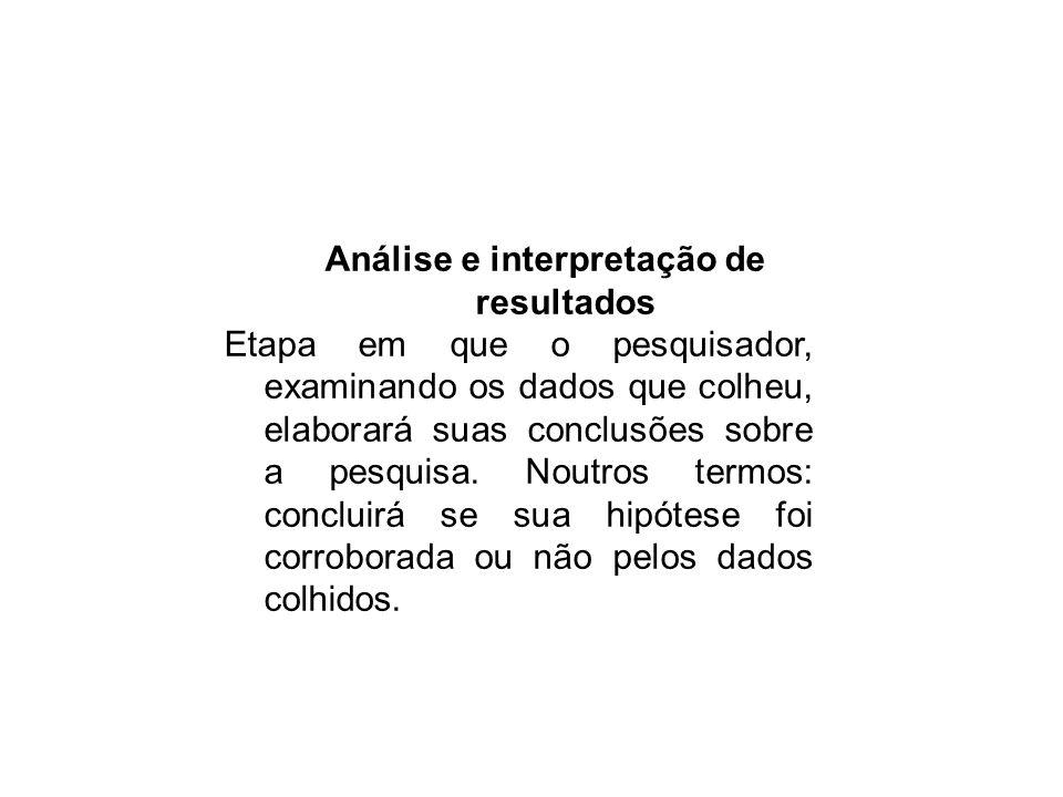 Análise e interpretação de resultados