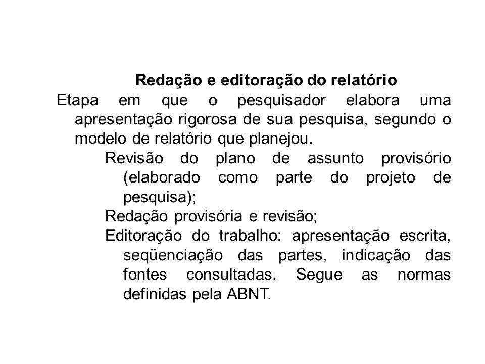 Redação e editoração do relatório