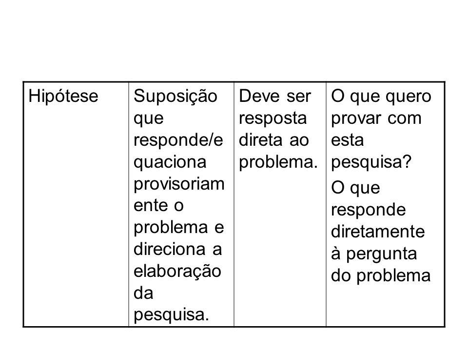 Hipótese Suposição que responde/equaciona provisoriamente o problema e direciona a elaboração da pesquisa.