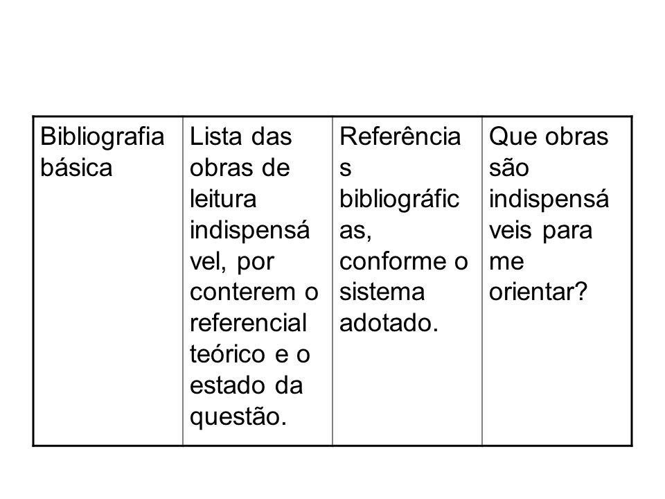 Bibliografia básica Lista das obras de leitura indispensável, por conterem o referencial teórico e o estado da questão.