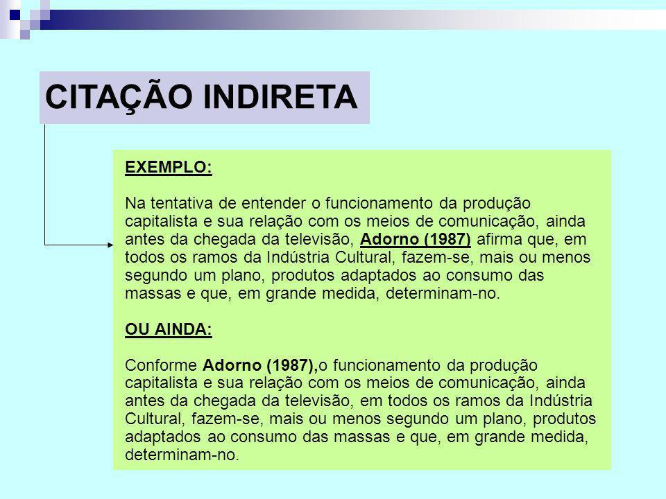 CITAÇÃO INDIRETA EXEMPLO: