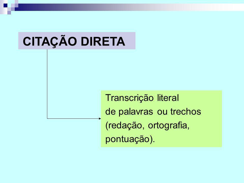 CITAÇÃO DIRETA Transcrição literal de palavras ou trechos