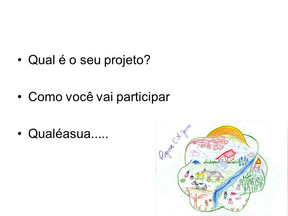 Qual é o seu projeto Como você vai participar Qualéasua.....