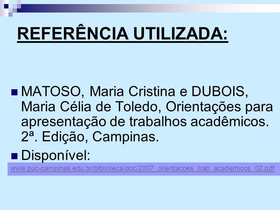 REFERÊNCIA UTILIZADA: