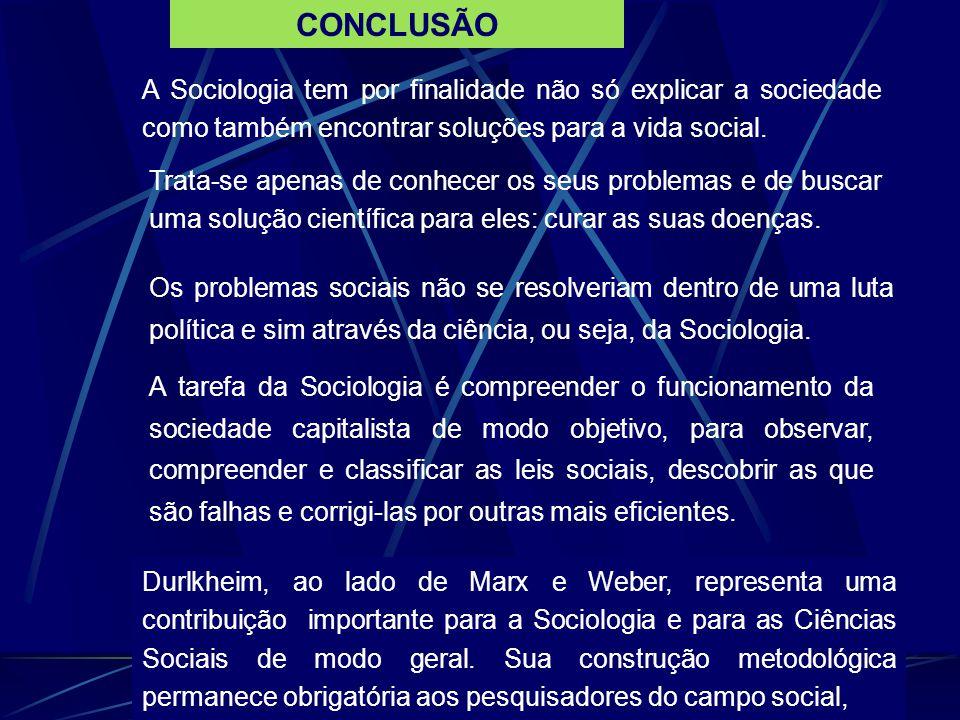 CONCLUSÃO A Sociologia tem por finalidade não só explicar a sociedade como também encontrar soluções para a vida social.
