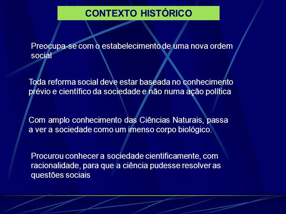 CONTEXTO HISTÓRICO Preocupa-se com o estabelecimento de uma nova ordem social.