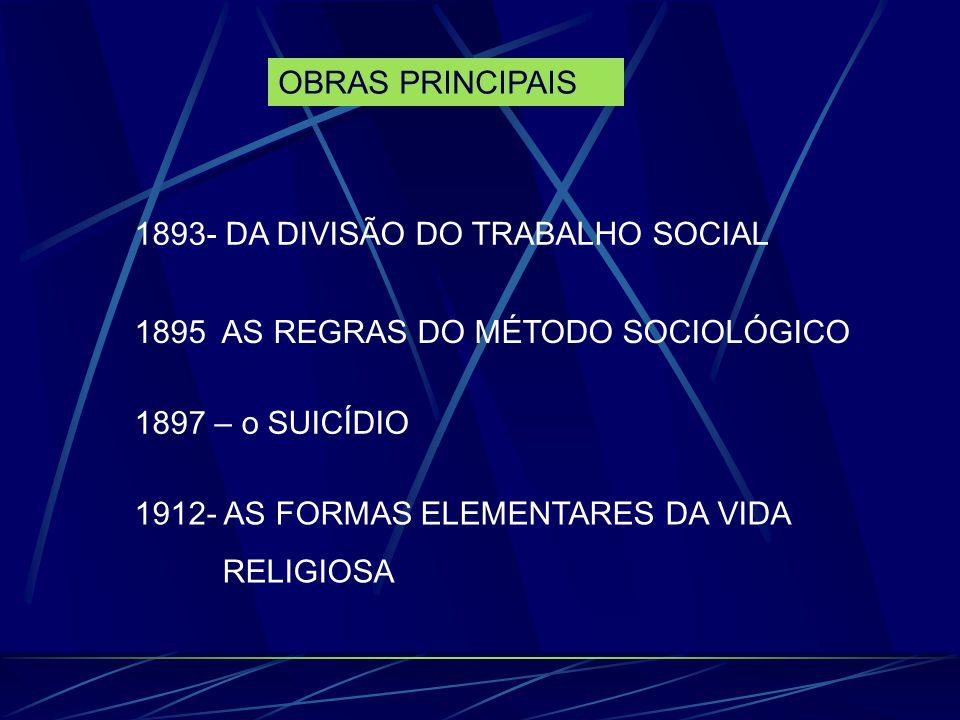 OBRAS PRINCIPAIS 1893- DA DIVISÃO DO TRABALHO SOCIAL. 1895 AS REGRAS DO MÉTODO SOCIOLÓGICO. 1897 – o SUICÍDIO.